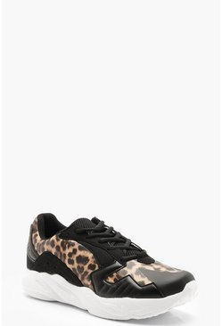 Womens Black Leopard Panel Chunky Trainers