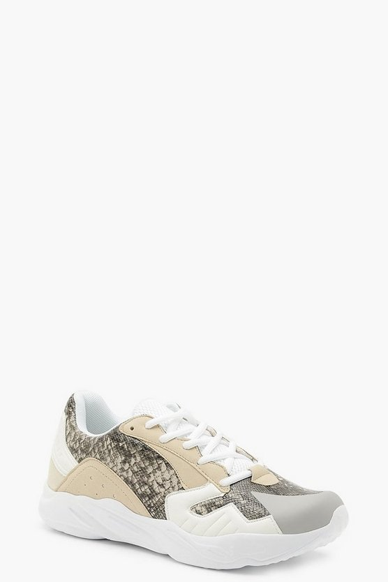 Womens Grey Snake Panel Chunky Sneakers