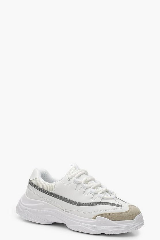 White Reflective Strip Chunky Sneakers