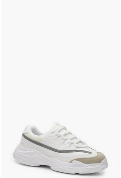 Womens White Reflective Strip Chunky Sneakers