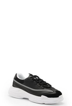 Womens Black Reflective Strip Chunky Trainers