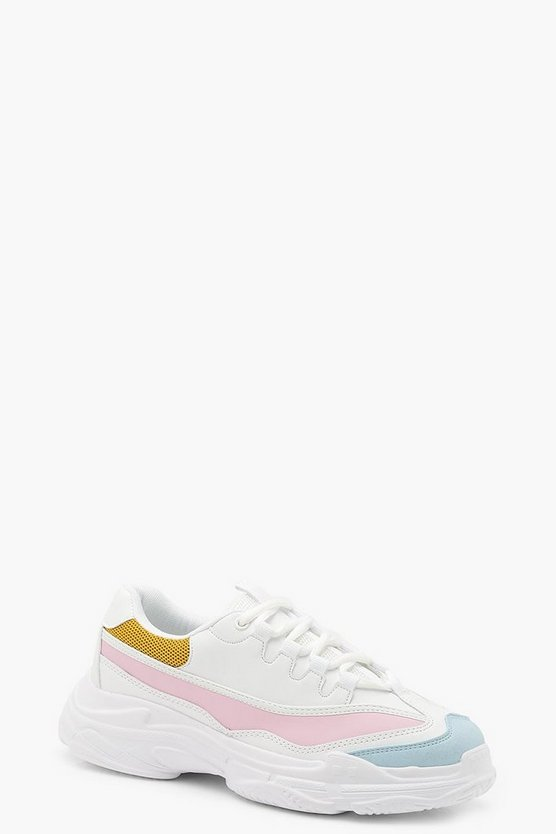Womens White Colour Block Chunky Sneakers