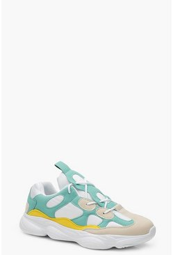 Womens Turquoise Lace Up Chunky Dad Trainers