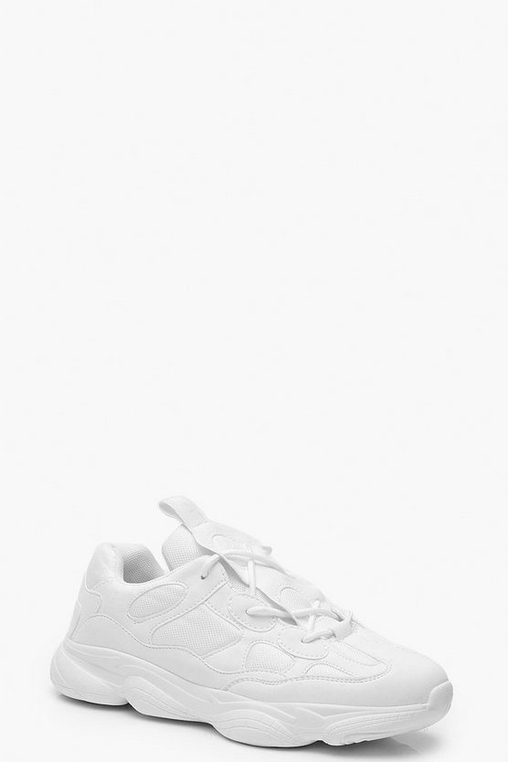 Womens White Lace Up Chunky Dad Trainers