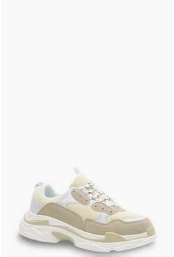 Dam Natural Chunky Platform Lace Up Trainers