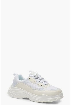 Womens White Chunky Platform Lace Up Trainers