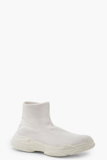 Womens White Platform Sock Trainers