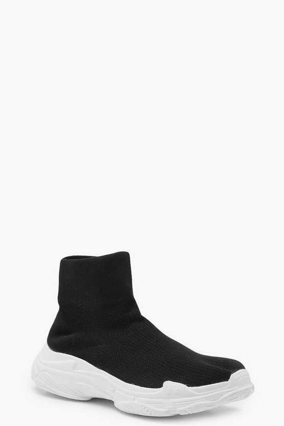 Womens Black Platform Sock Trainers