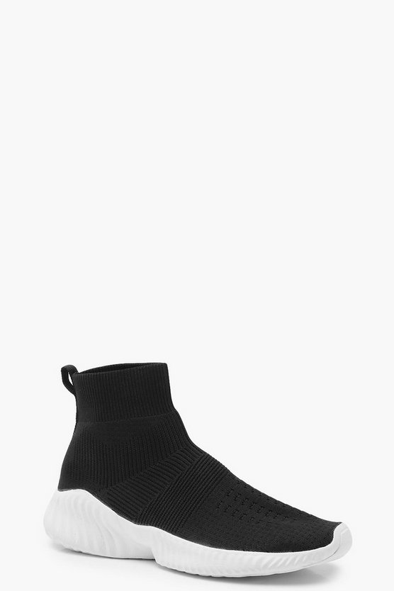 Womens Black Loop Back Platform Sock Trainers