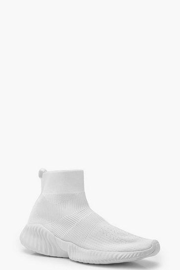 Womens White Loop Back Platform Sock Trainers