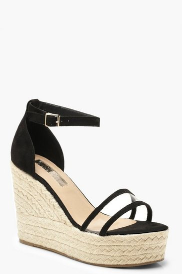 Womens Black Clear Panel Espadrille Wedges