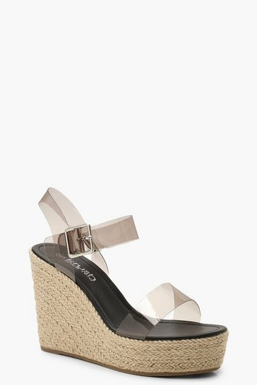 Womens Black Clear Strap Espadrille Wedges
