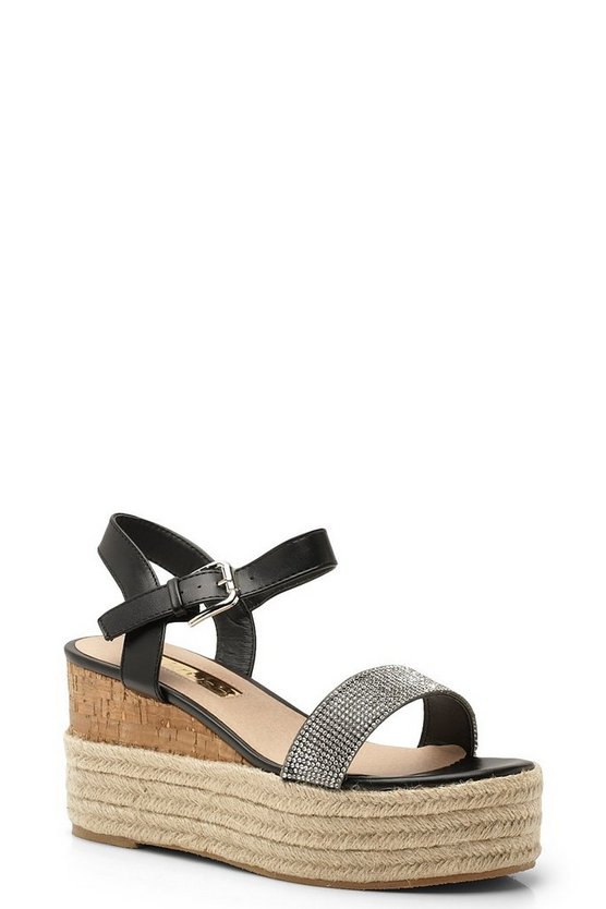 Womens Black Diamante Espadrille Wedge Flatforms