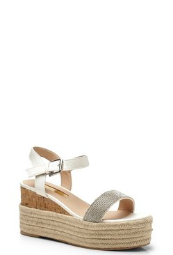 Womens White Diamante Espadrille Wedge Flatforms