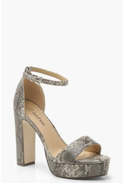 Womens Grey Snake Platform Two Part Heels