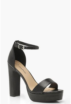 Womens Black Lizard Platform Two Part Heels