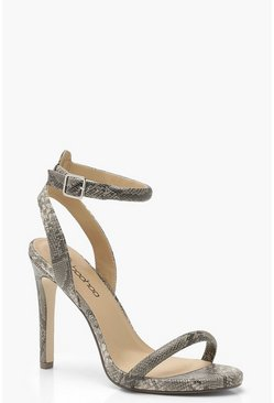 Womens Grey Wide Fit Snake Two Part Heels