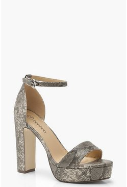 Womens Grey Wide Fit Snake Platform Two Part Heels