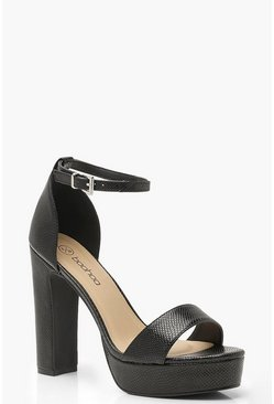 Black Wide Fit Lizard Platform Two Part Heels