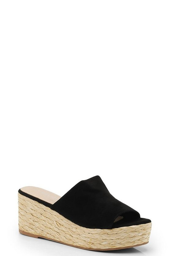 Womens Black Mule Espadrille Flatforms