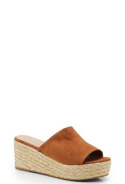 Womens Tan Mule Espadrille Flatforms