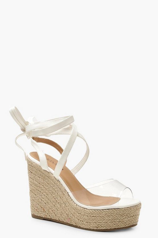 Womens White Clear Peeptoe Wrap Espadrille Wedges