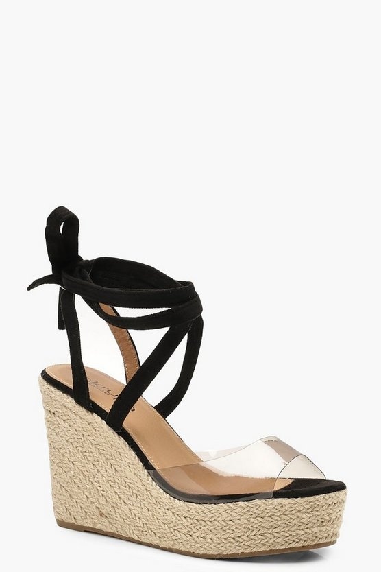 Womens Black Clear Peeptoe Wrap Espadrille Wedges