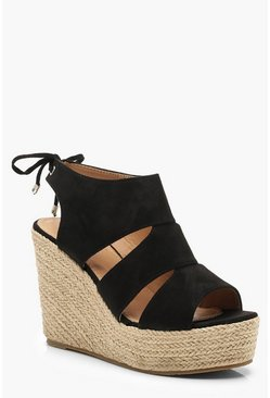 Black Cut Work Detail Espadrille Wedges