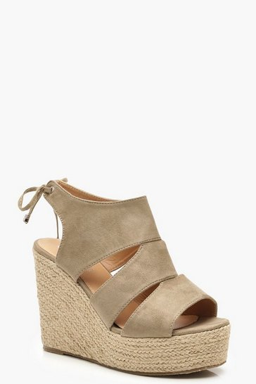 Womens Khaki Cut Work Detail Espadrille Wedges