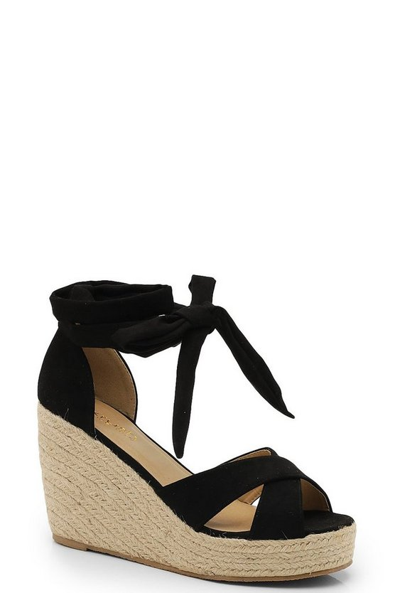 Black Wrap Espadrille Wedges