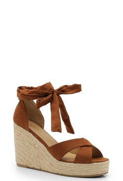 Womens Tan Wrap Espadrille Wedges