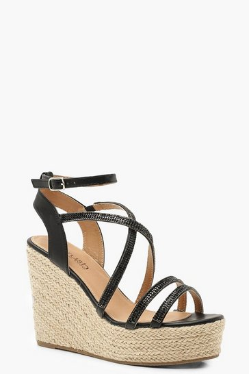 Womens Black Diamante Strap Espadrille Wedges