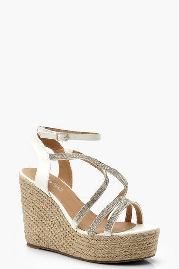 Womens White Diamante Strap Espadrille Wedges