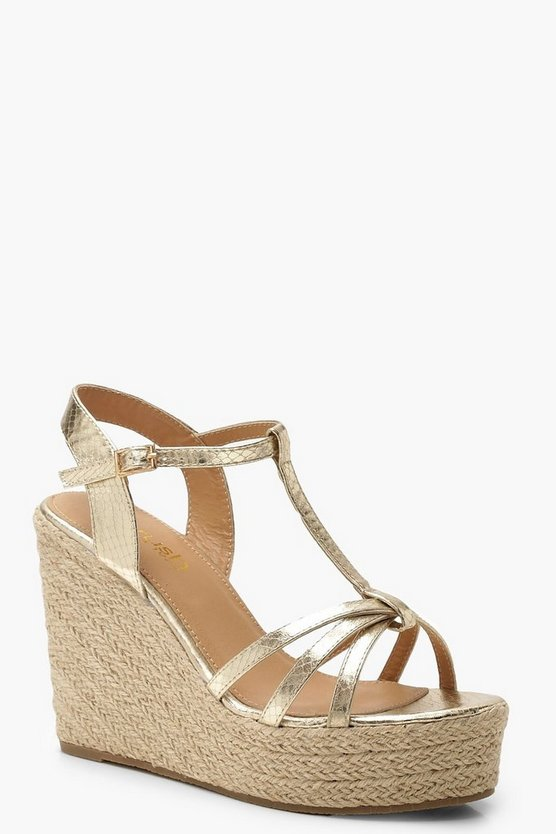 Metallic Snake Caged Wedges