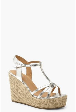 Womens Silver Metallic Snake Caged Wedges