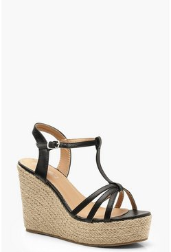 Womens Black Caged Peeptoe Espadrille Wedges