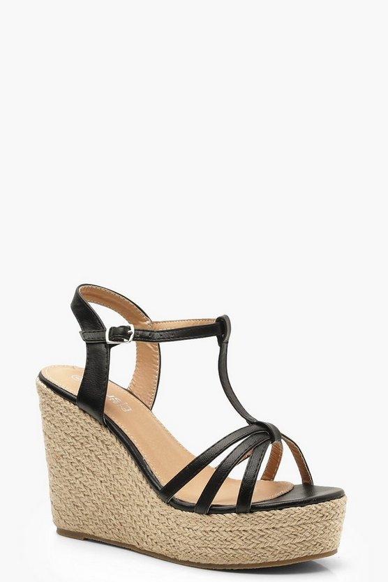 Caged Peeptoe Espadrille Wedges