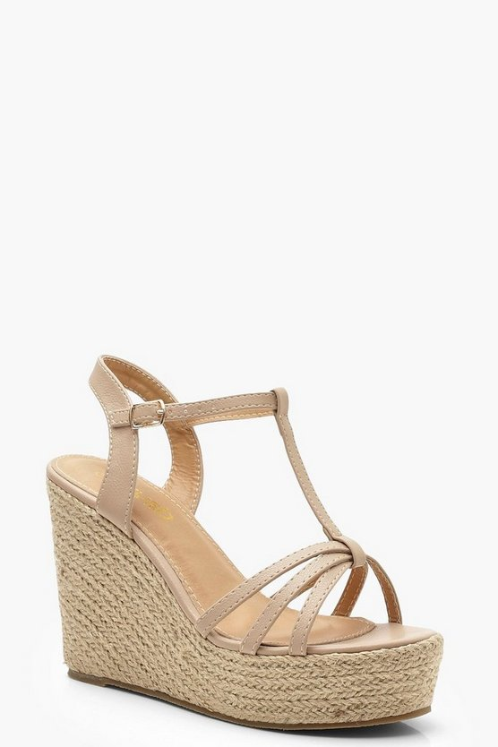 Womens Nude Caged Peeptoe Espadrille Wedges