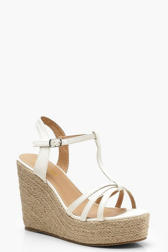 Womens White Caged Peeptoe Espadrille Wedges