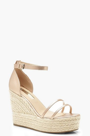 Womens Rose gold Clear Panel Espadrille Wedges