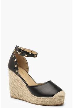 Womens Black Studded Espadrille Wedges