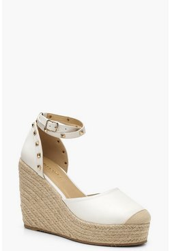Womens White Studded Espadrille Wedges