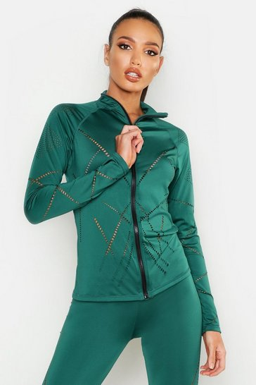 Womens Green Fit Laser Cut Zip Up Gym Jacket