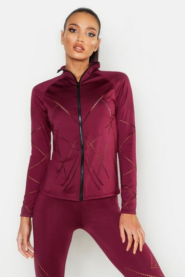 Womens Wine Fit Laser Cut Zip Up Gym Jacket