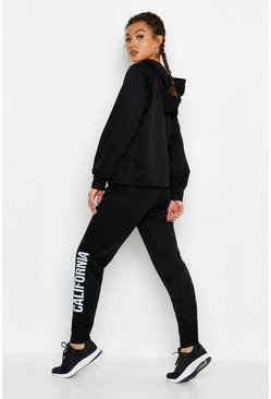Womens Black Fit Cropped California Tracksuit
