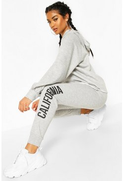 Grey marl Fit Cropped California Tracksuit