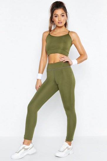 Womens Khaki Fit Basic Breathable Sports Leggings