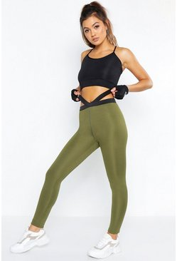Womens Khaki Fit Breathable Strapping Sports Leggings