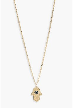 Womens Gold Hamsa Hand Twist Chain Necklace
