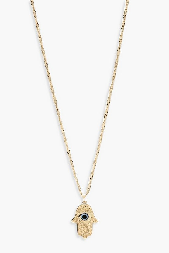 Hamsa Hand Twist Chain Necklace